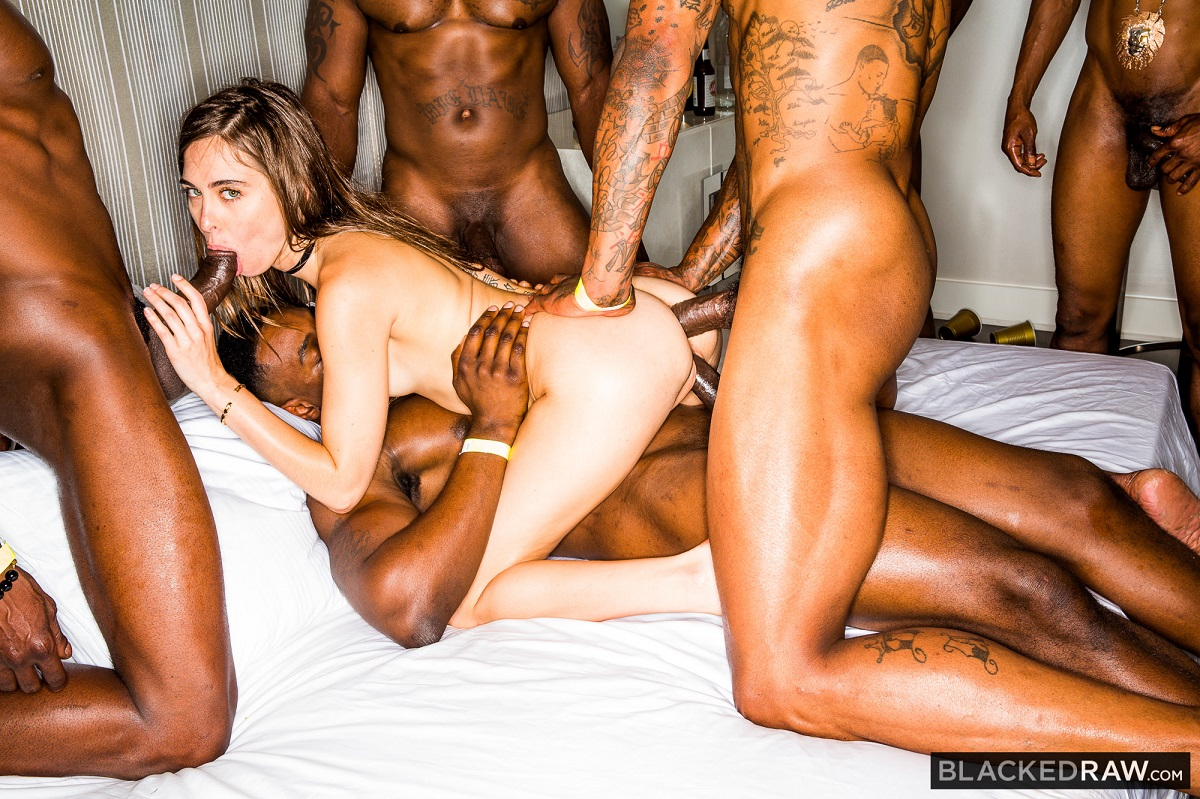 BlackedRaw:  Girlfriend Gangbang At The After Party –  Riley Reid